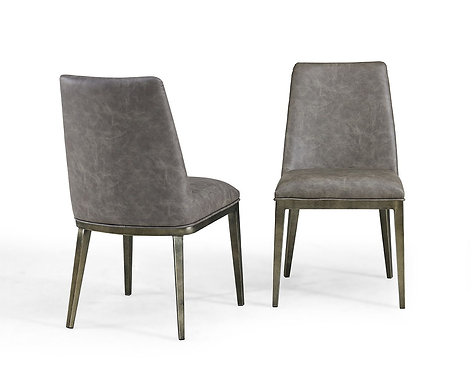 ATLAS VINTAGE GREY FAUX LEATHER DINING CHAIR (SET OF 2)