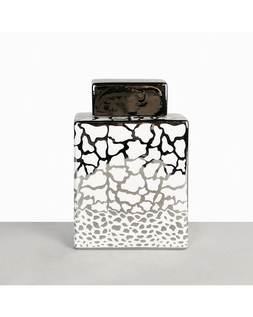 WHITE AND SILVER PRINT JAR LARGE SQUARE