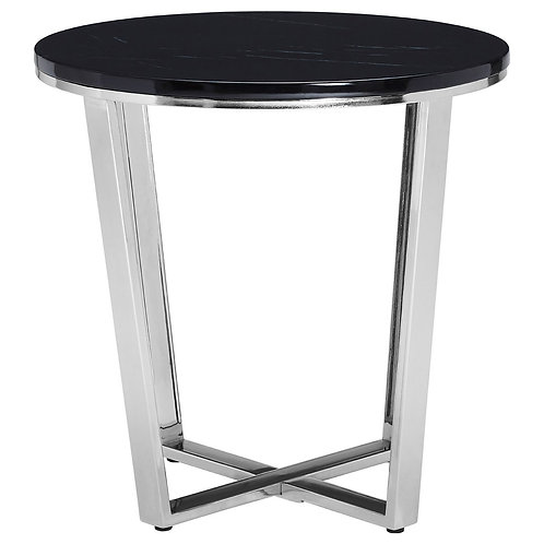 LUXE Allure Round Black Faux Marble End Table