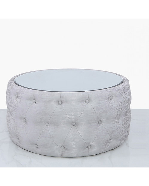 ROUND SILVER TEXTURED FOOTSTOOL WITH MIRROR TOP