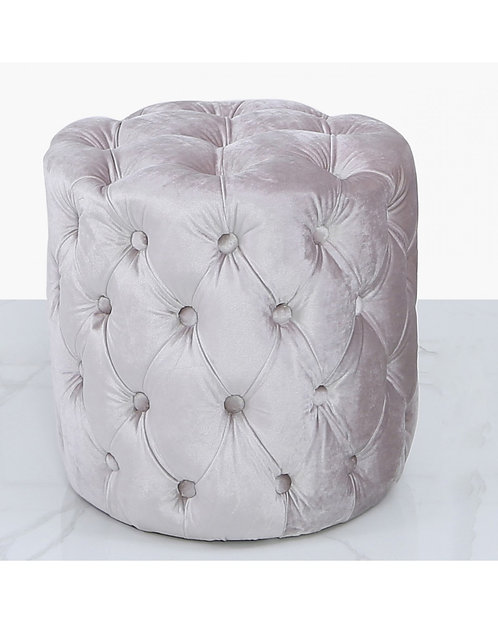 SMALL ROUND BLUSH PINK BUTTONED FOOTSTOOL