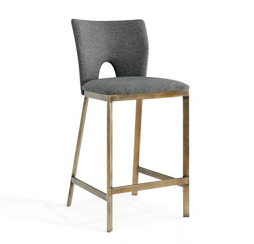CAMLEY VINTAGE GREY FAUX LEATHER BAR STOOL