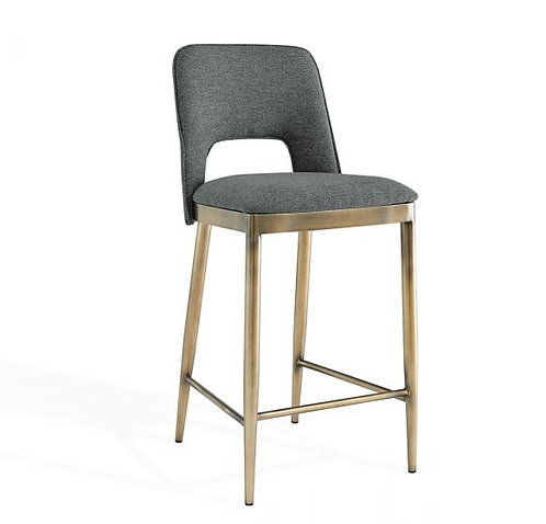 ATWOOD GREY LINEN BAR STOOL