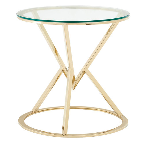 LUXE Allure Corseted Round Champagne End Table