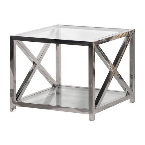 CHROME CROSS SIDE TABLE