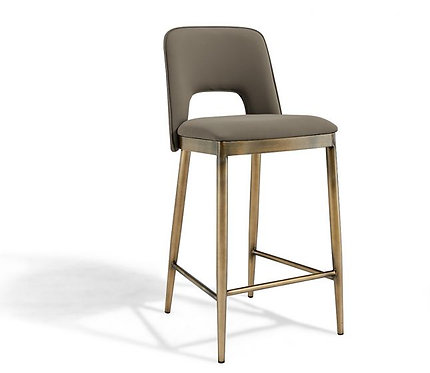 ATWOOD TAUPE FAUX LEATHER BAR STOOL