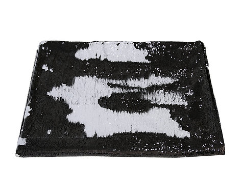 BLACK AND WHITE SEQUIN THROW