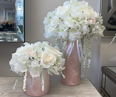LARGE AND SMALL PINK MARBLE WITH WHITE SET DEAL