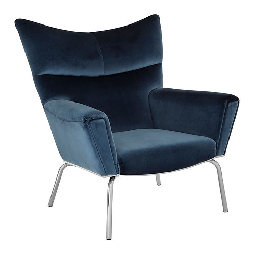 LUXE Novara Blue Velvet Chair