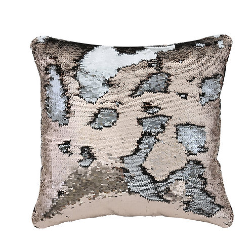 SILVER AND ROSE GOLD SEQUIN CUSHION