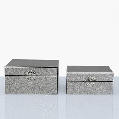 SET OF TWO PEWTER FAUX LEATHER BOXES