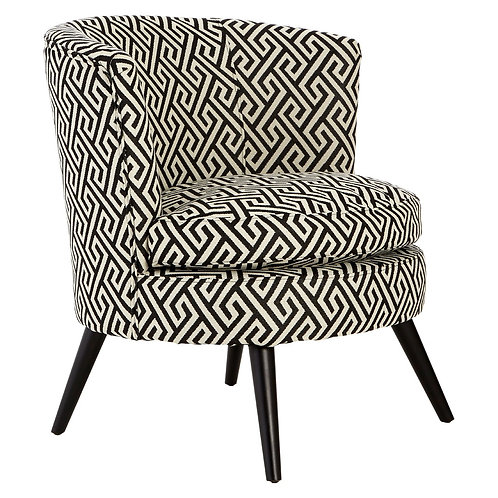 LUXE Round Black and White Jacquard Armchair
