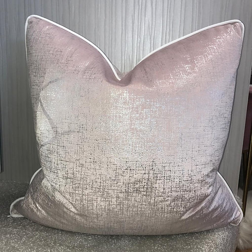 BABY PINK WITH SILVER FLECK AND WHITE PIPING 55x55cm