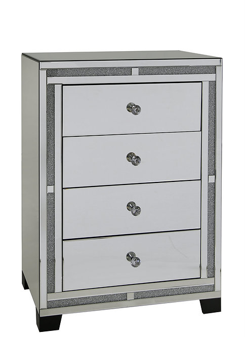 LUXURY CRUSHED CRYSTAL 4 DRAWER TALLBOY