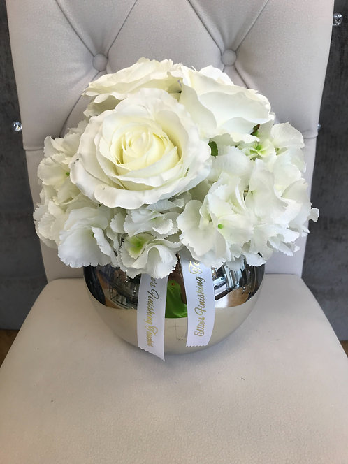 SILVER BOWL WITH WHITE HYDRANGEAS AND WHITE ROSES