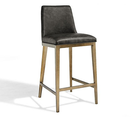 ATLAS VINTAGE GREY FAUX LEATHER BAR STOOL