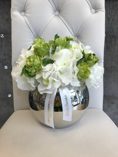 SILVER BOWL WITH WHITE HYDRANGEAS AND HOP SPRAY