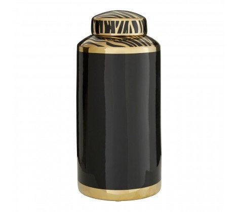 GOLD AND BLACK ZEBRA JAR LARGE