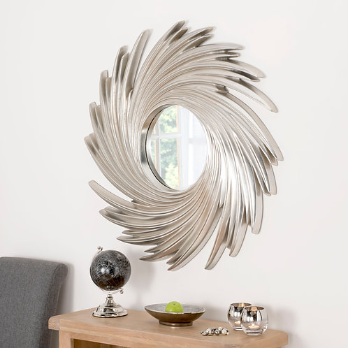 SILVER CIRCLE SWIRL MIRROR
