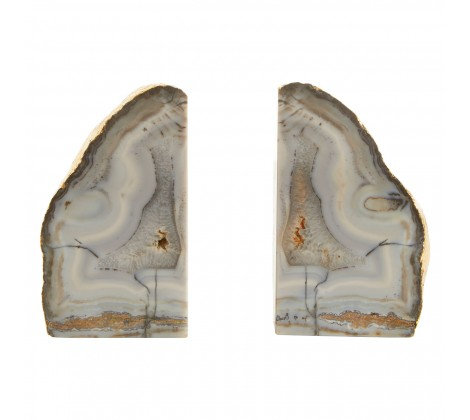 GREY AGATE BOOKENDS