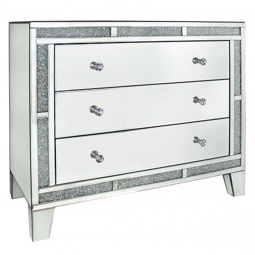 LUXURY CRUSHED CRYSTAL CHEST OF DRAWERS