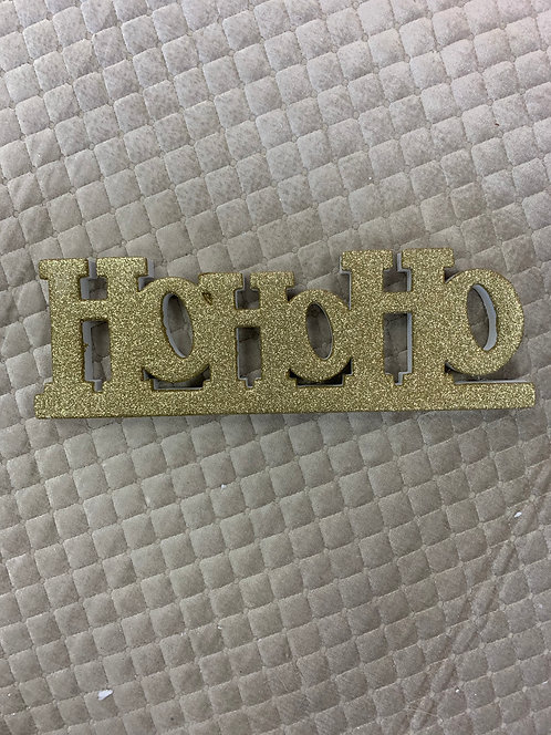 GOLD SPARKLY HO HO HO SIGN