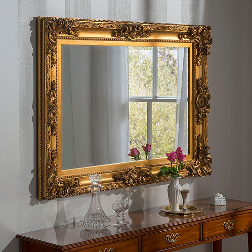 LARGE RECTANGLE GOLD ORNATE MIRROR