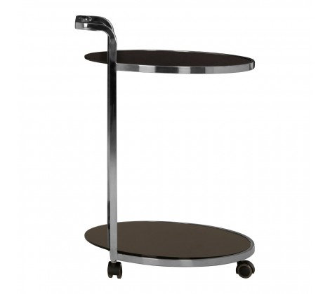 2 TIER BLACK GLASS AND CHROME DRINKS TROLLEY