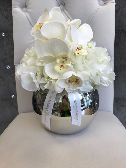 SILVER BOWL WITH WHITE HYDRANGEAS AND ORCHID
