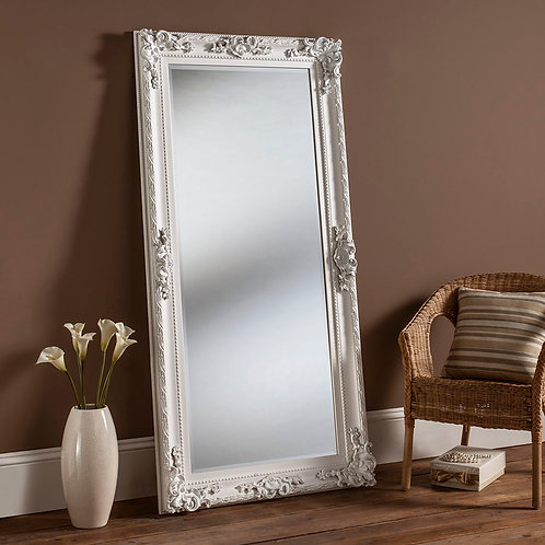 LONG WHITE ORNATE MIRROR