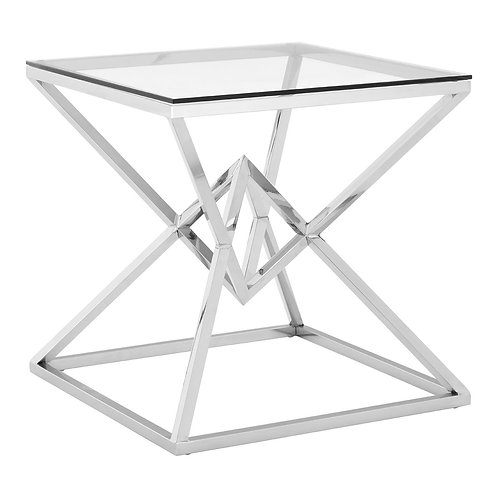 LUXE Allure Corseted Square Silver End Table