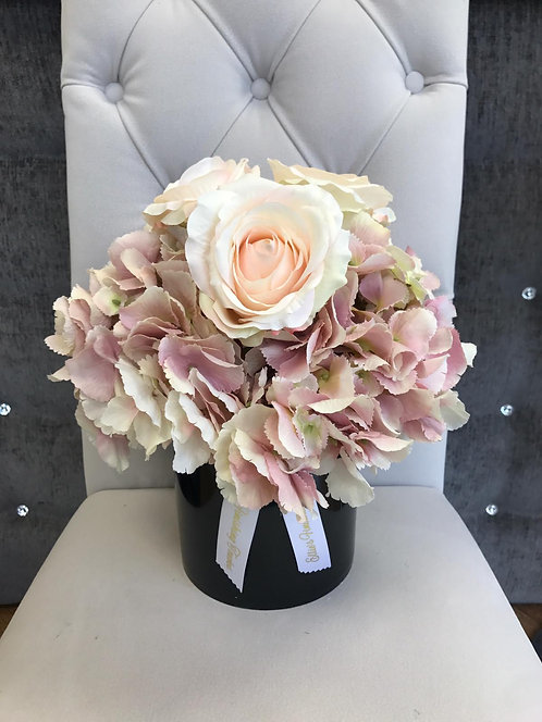 BACK CYLINDER WITH PINK HYDRANGEAS AND BLUSH ROSES