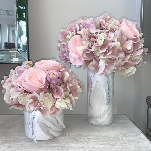 MEDIUM AND SMALL WHITE MARBLE WITH PINK