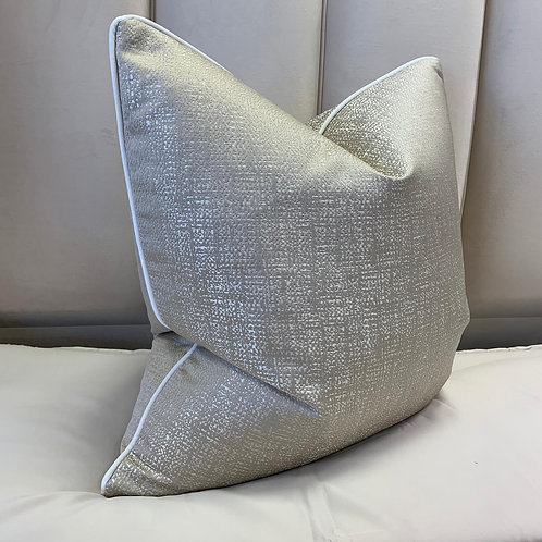 SAND FLECK WITH WHITE PIPING 55x55cm