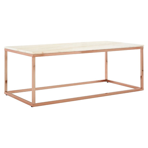 LUXE  Allure Rectangular White Marble Coffee Table