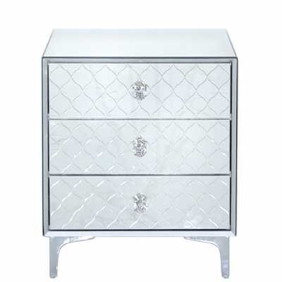 Tiffany Mirror 3 Drawer Bedside Cabinet