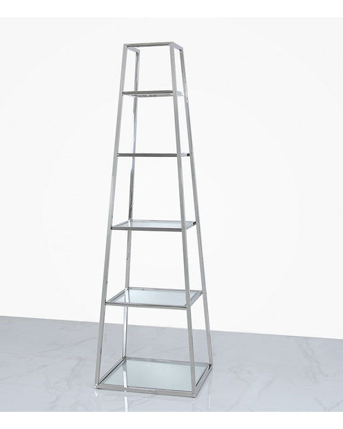 LADDER CHROME AND GLASS DISPLAY UNIT