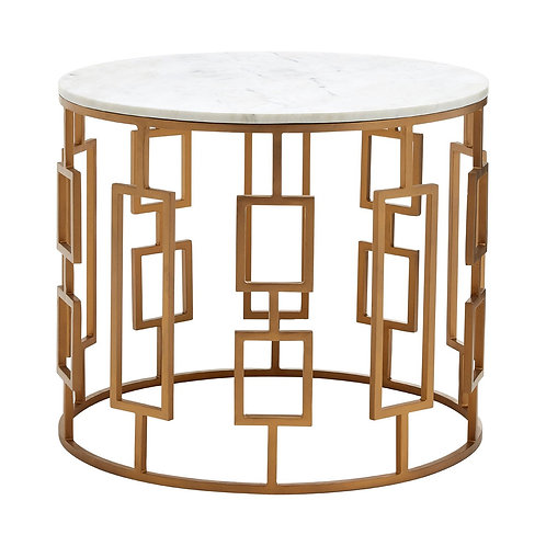 LUXE Shalimar Round White Marble Top Side Table