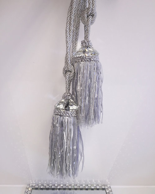 PAIR OF CRYSTAL SILVER TASSEL TIE BACKS