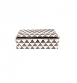 WHITE AND SILVER PATTERNED TRINKET BOX