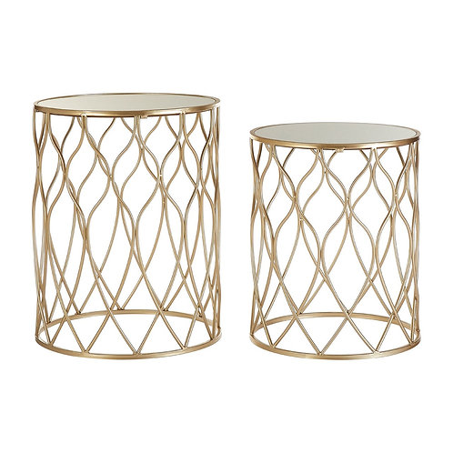 LUXE Arcana Champagne Iron Frame Side Tables
