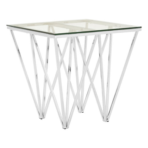 LUXE Allure Chrome End Table with Triangualar Base