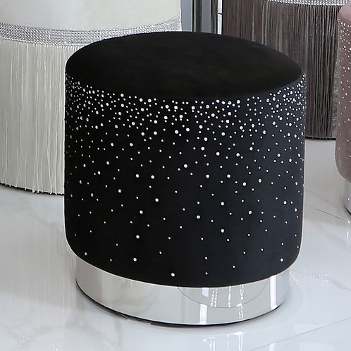 BLACK ROUND FOOTSTOOL WITH SPARKLE PATTERN
