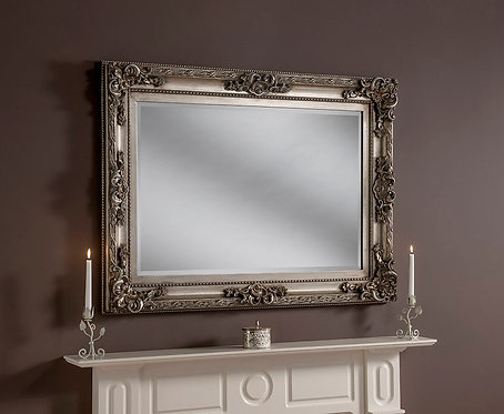 SMALL RECTANGLE SILVER ORNATE MIRROR