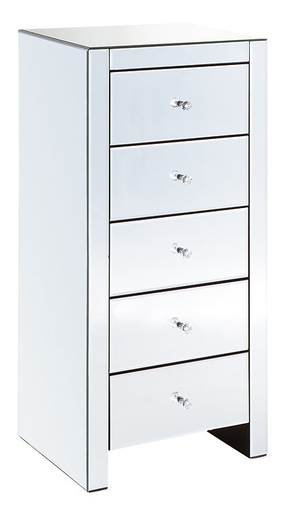 MIRRORED 5 DRAWER TALLBOY