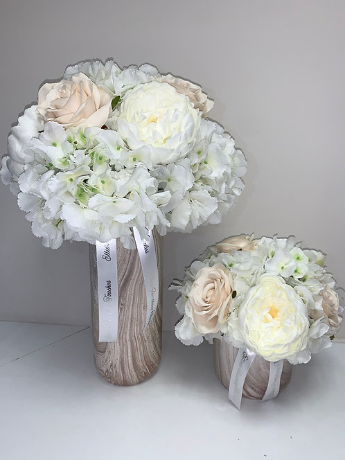 CHAMPAGNE MARBLE WITH WHITE HYDRANGEAS SET DEAL