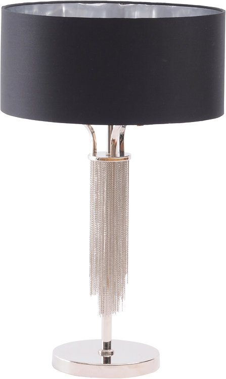 EXCLUSIVE COLLECTION NICKEL CHAIN TABLE LAMP BLACK