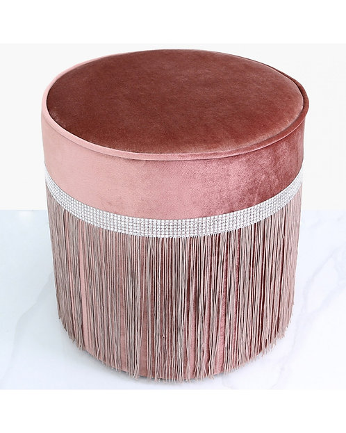 PINK ROUND FOOTSTOOL WITH DIAMONTE BAND