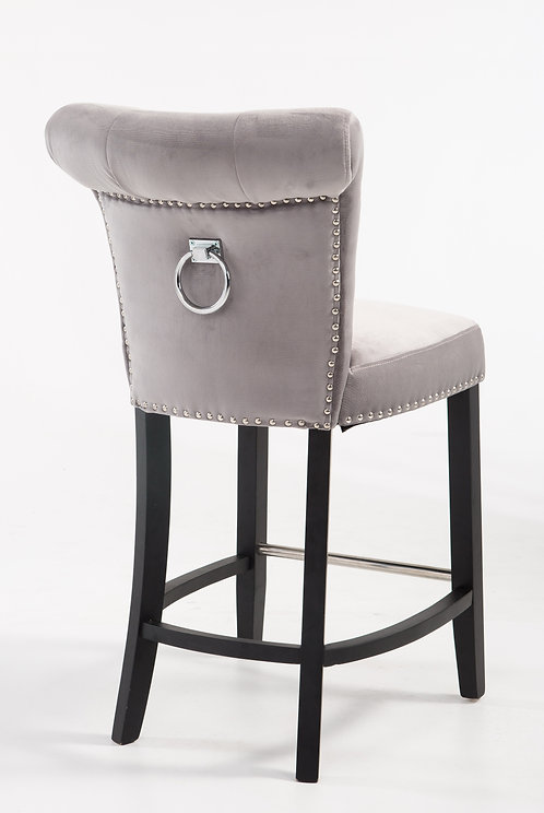 GREY VELVET BAR STOOL