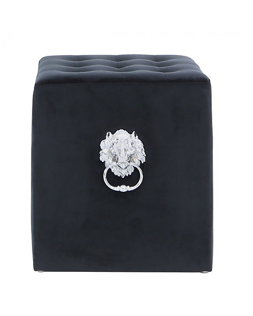 BLACK BUTTONED FOOTSTOOL WITH KNOCKER